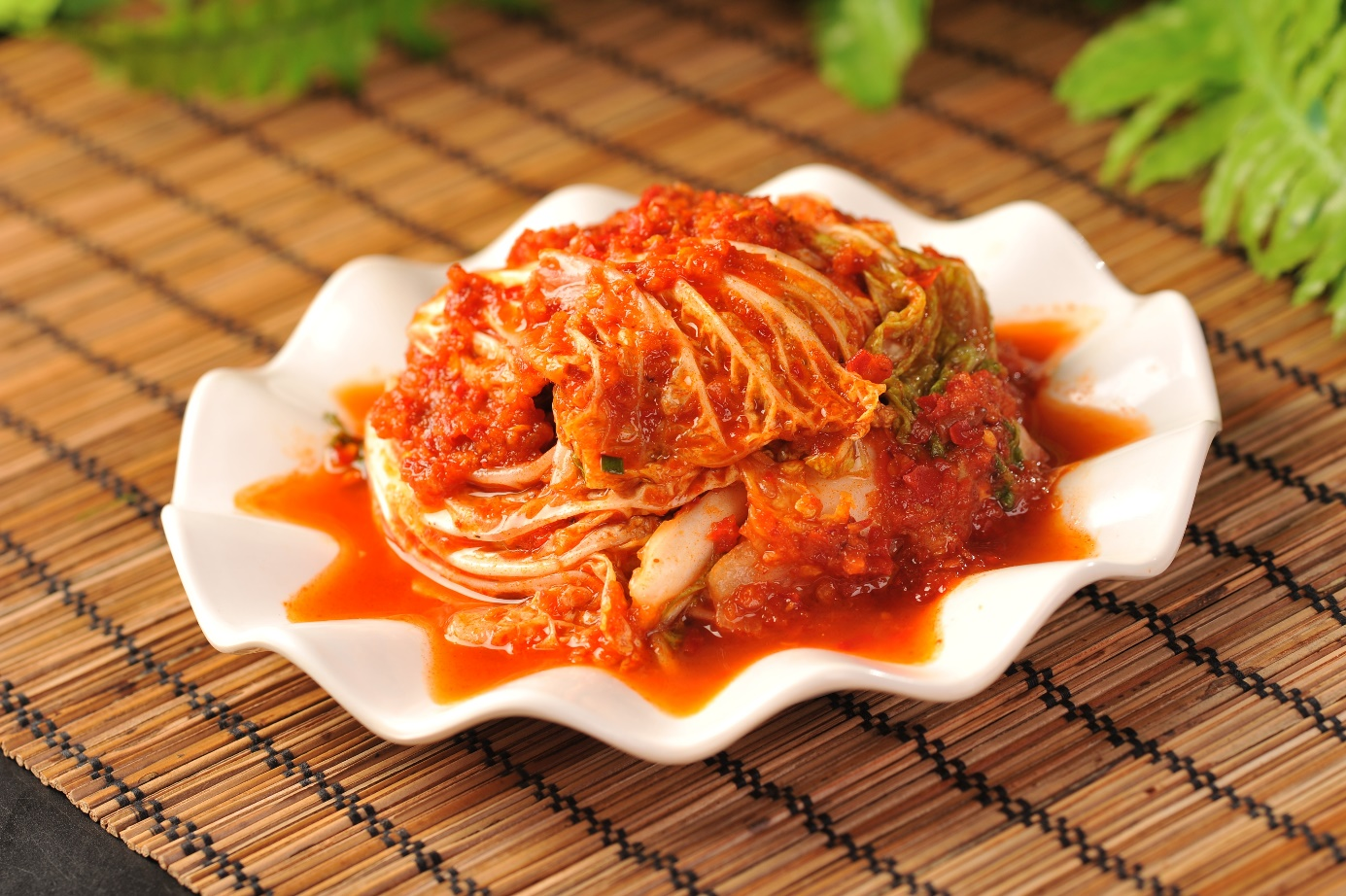 a dish with kimchi