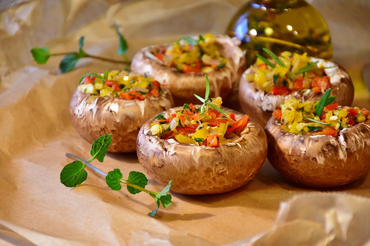 mushroom stuffed with various vegetables