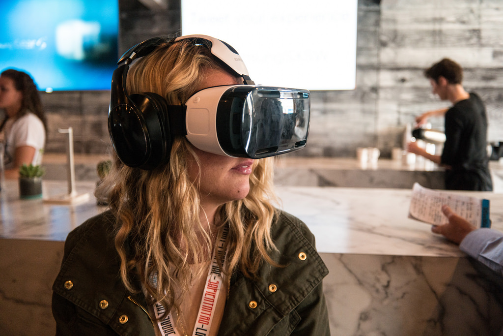 girl, using a VR set