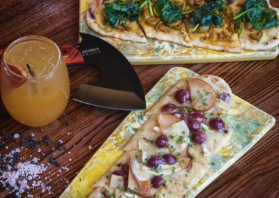 Hummus and Brie flat bread